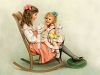 Victorian Girl Holding Her Little Sister in Her Lap in a Rocking Chair clipart