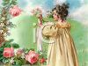 Victorian Girl Playing with Her Doll in a Rose Garden clipart