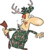 Cartoon of a Hunter Camouflaged with Antlers in His Hat clipart