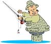 Cartoon of a Fly Fisherman Wearing Camos clipart
