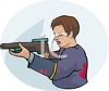 Young Man Shooting a Paintball Gun clipart