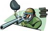 Serious Enthusiast Aiming a Paintball Gun clipart