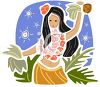 Hula Girl Dancing at Night clipart