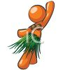 Orange Woman Character Dancing Hula in a Grass Skirt clipart