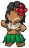 Cute Little Polynesian Girl Dancing in a Grass Skirt clipart