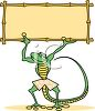 Cartoon Gecko Holding Up a Bamboo Sign clipart