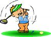 Cartoon of a Golfer Missing the Ball clipart