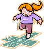 Cartoon of a Little Red Haired Girl Playing Hopscotch clipart