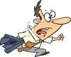 Cartoon of a Running Man Late for Work clipart