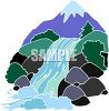 Waterfall Cascading Down the Side of a Mountain and Over Rocks clipart