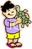 Little Boy Holding His Pet Turtle clipart