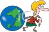 Businesswoman Pulling the Weight of the World clipart