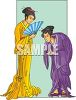 Japanese Woman Bowing with Respect  clipart