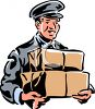 Vintage Delivery Man Carrying Boxes clipart