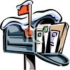 Letters and a Package in a Mailbox Covered with Snow clipart