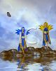 Water Nymphs Standing on Rocks in a Lake clipart