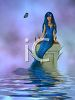 Blue Mermaid in a Pond clipart