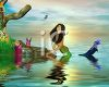 Mermaid in a Lake with Pixie Friends clipart