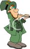 Cartoon Leprechaun Playing the Flute clipart