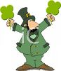Cartoon Leprechaun Holding A Four Leaf Clover in Each Hand clipart