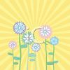 Whimsical Spring Flowers with Rays of the Sun clipart