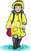 Girl Walking Through a Puddle clipart