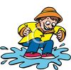 Cartoon of a Little Boy Jumping in a Puddle of Water clipart