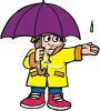 Little Boy Wearing a Slicker Holding an Umbrella clipart