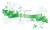 Green Ribbon Banner with Shamrocks and Swirls clipart