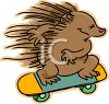 Cartoon of a Porcupine Riding a Skateboard clipart