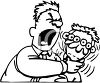 Black and White Cartoon of a Man Yelling and Choking Another Man clipart