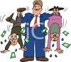 Businessman Shaking the Money from an Elderly Couple clipart