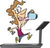 Cartoon of a Woman Working Out on a Treadmill Drinking a Protein Shake clipart