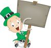 Cartoon of a Baby Leprechaun Holding Up a Blank Sign clipart