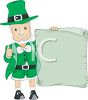 Cartoon of a Leprechaun Holding a Blank Sign Giving the Thumbs Up clipart