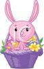 Pink Bunny in an Easter Basket clipart
