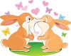 Two Little Bunnies Kissing clipart