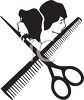 Hair Stylist Icon with Scissors and a Comb clipart