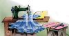Dress Laying on a Sewing Machine Table clipart