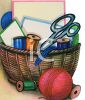 Sewing Basket with Thread and Scissors clipart