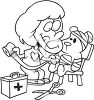 Black and White Cartoon of a Little Girl Playing Doctor with Her Teddy clipart