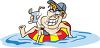 Man Relaxing in an Inner Tube Having a Cocktail clipart