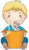 Cartoon of a Toddler Drinking from a Straw clipart