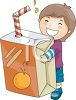 Small Boy Holding a Giant Juice Box clipart