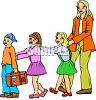 School Children Doing the Buddy System Walking in a Line clipart