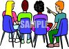 Teens at School Having a Discussion clipart