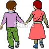 Little Kids Holding Hands clipart