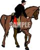 Man Dismounting a Horse clipart