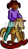 Ethic Child Riding a Wooden Rocking Horse Toy clipart