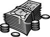 Stack of Dollars and Coins clipart